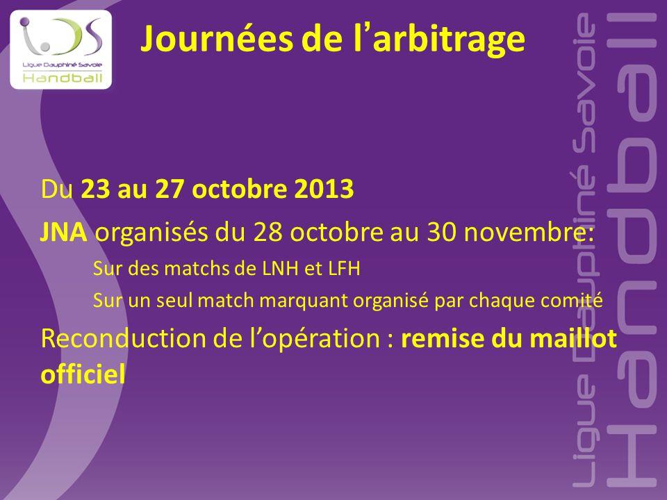 Journées de l'arbitrage Du 23 au 27 octobre 2013 JNA organisés du 28 octobre au 30 novembre: Sur des matchs de LNH et LFH Sur un seul match marquant o