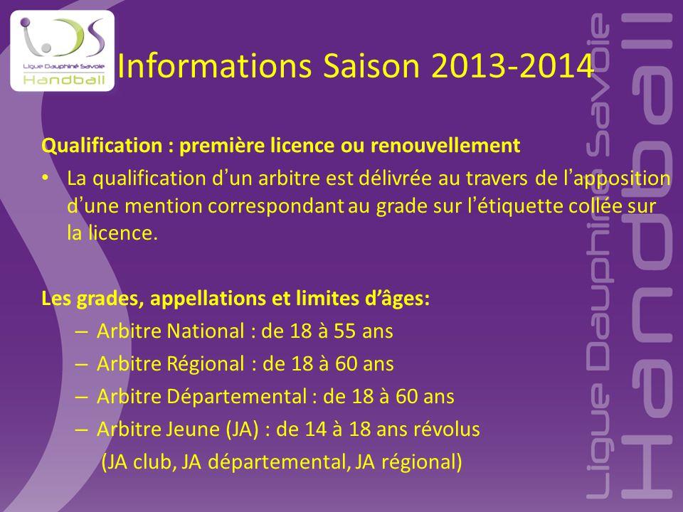 Informations Saison 2013-2014 Qualification : première licence ou renouvellement La qualification d'un arbitre est délivrée au travers de l'apposition