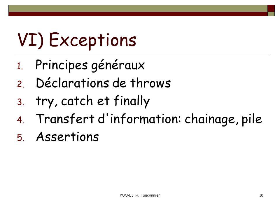 POO-L3 H. Fauconnier18 VI) Exceptions 1. Principes généraux 2. Déclarations de throws 3. try, catch et finally 4. Transfert d'information: chainage, p