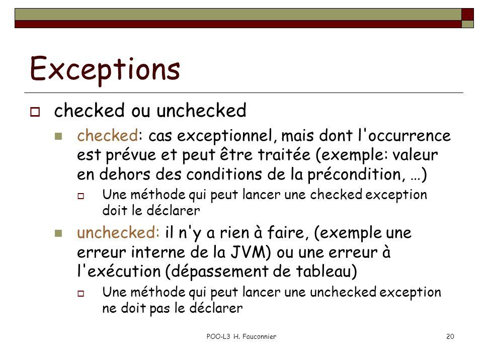 POO-L3 H. Fauconnier20 Exceptions  checked ou unchecked checked: cas exceptionnel, mais dont l'occurrence est prévue et peut être traitée (exemple: v