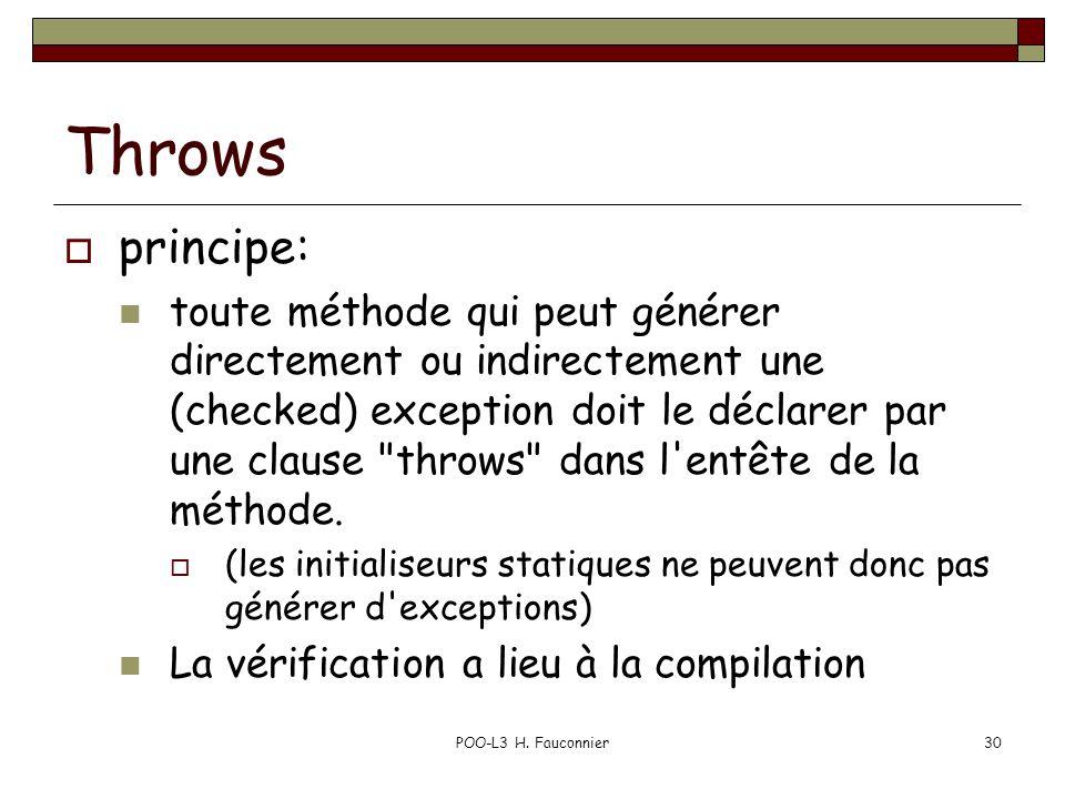 POO-L3 H. Fauconnier30 Throws  principe: toute méthode qui peut générer directement ou indirectement une (checked) exception doit le déclarer par une