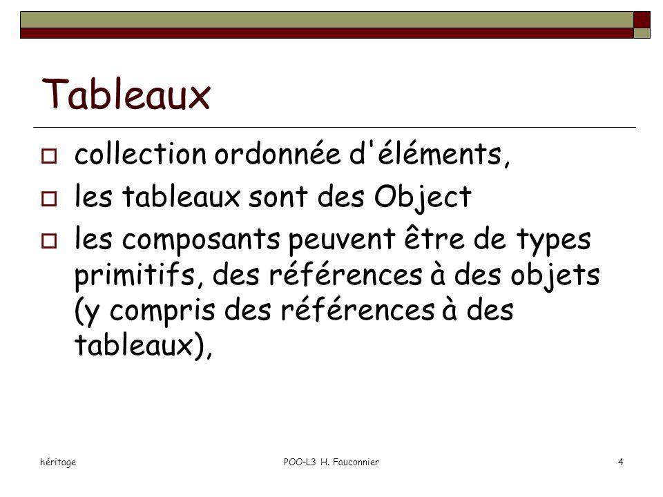 héritagePOO-L3 H. Fauconnier4 Tableaux  collection ordonnée d'éléments,  les tableaux sont des Object  les composants peuvent être de types primiti