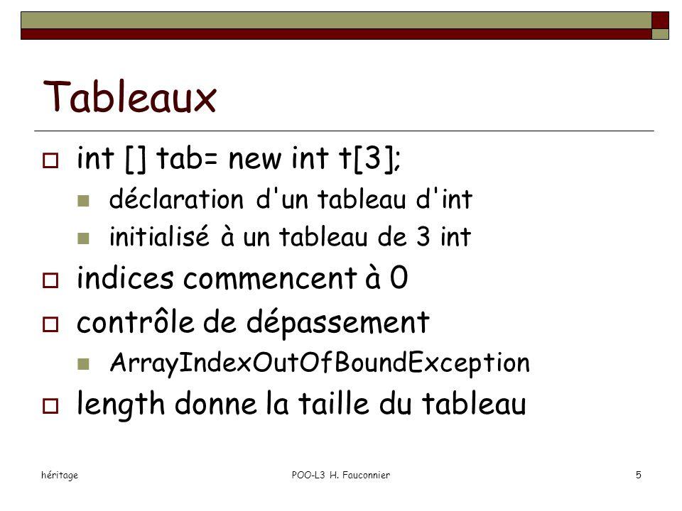 héritagePOO-L3 H. Fauconnier5 Tableaux  int [] tab= new int t[3]; déclaration d'un tableau d'int initialisé à un tableau de 3 int  indices commencen