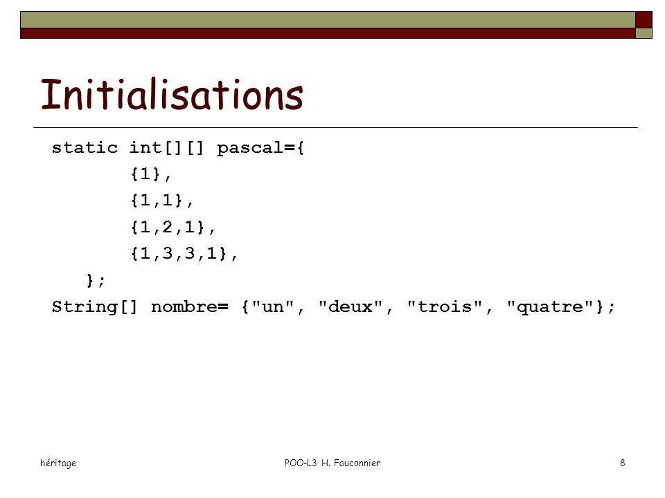héritagePOO-L3 H. Fauconnier8 Initialisations static int[][] pascal={ {1}, {1,1}, {1,2,1}, {1,3,3,1}, }; String[] nombre= {