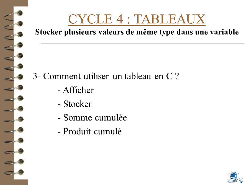 CYCLE 4 : TABLEAUX Stocker plusieurs valeurs de même type dans une variable 3- Comment utiliser un tableau en C .