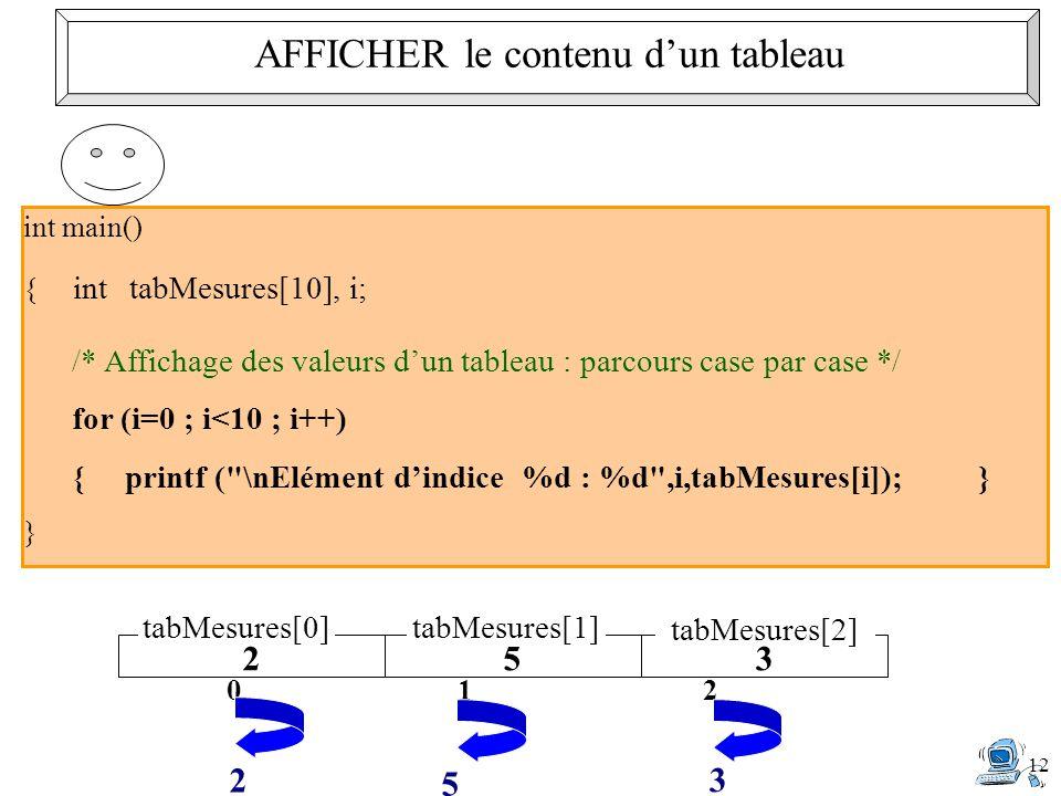 12 int main() { inttabMesures[10], i; /* Affichage des valeurs d'un tableau : parcours case par case */ for (i=0 ; i<10 ; i++) { printf ( \nElément d'indice %d : %d ,i,tabMesures[i]);} } 253 tabMesures[0]tabMesures[1] tabMesures[2] 0 2 1 5 2 3 AFFICHER le contenu d'un tableau