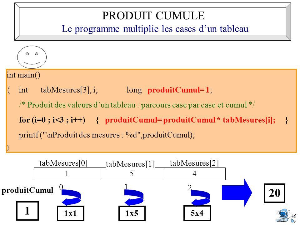 15 int main() { int tabMesures[3], i;long produitCumul= 1; /* Produit des valeurs d'un tableau : parcours case par case et cumul */ for (i=0 ; i<3 ; i++) { produitCumul= produitCumul * tabMesures[i]; } printf ( \nProduit des mesures : %d ,produitCumul); } 154 tabMesures[0] tabMesures[1] tabMesures[2] produitCumul 1 0 1x1 1 1x5 2 5x4 20 PRODUIT CUMULE Le programme multiplie les cases d'un tableau