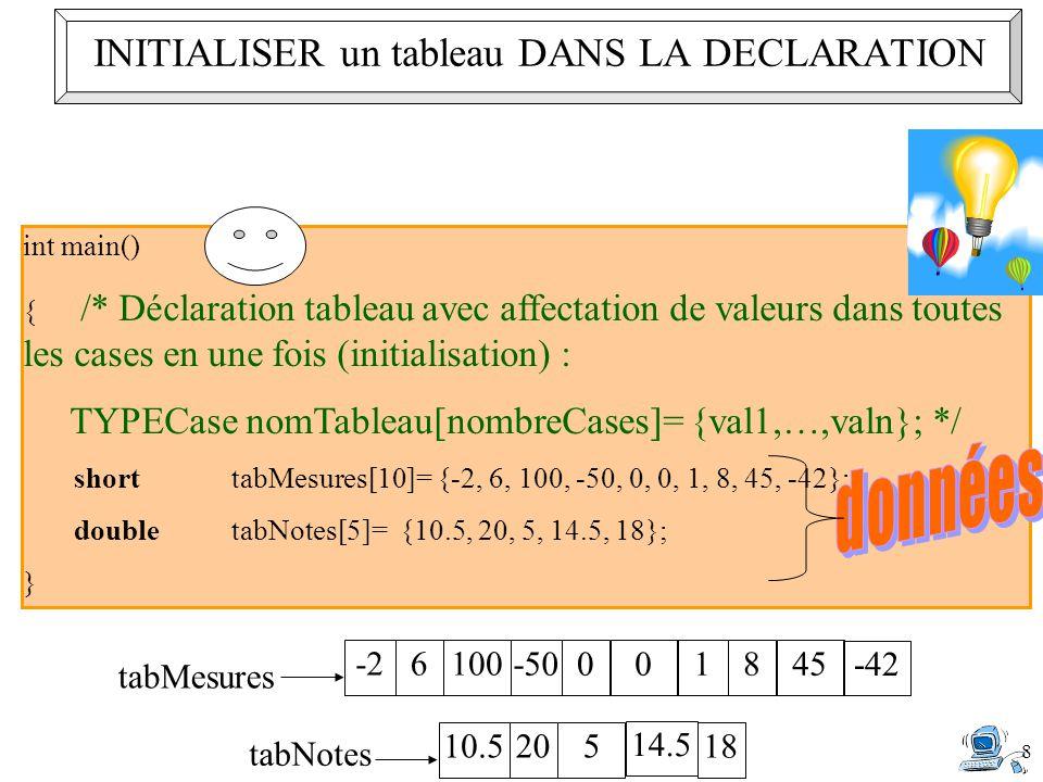 8 int main() { /* Déclaration tableau avec affectation de valeurs dans toutes les cases en une fois (initialisation) : TYPECase nomTableau[nombreCases]= {val1,…,valn}; */ shorttabMesures[10]= {-2, 6, 100, -50, 0, 0, 1, 8, 45, -42}; doubletabNotes[5]= {10.5, 20, 5, 14.5, 18}; } -26100 tabMesures -50001845 -42 10.5205 tabNotes 14.5 18 INITIALISER un tableau DANS LA DECLARATION
