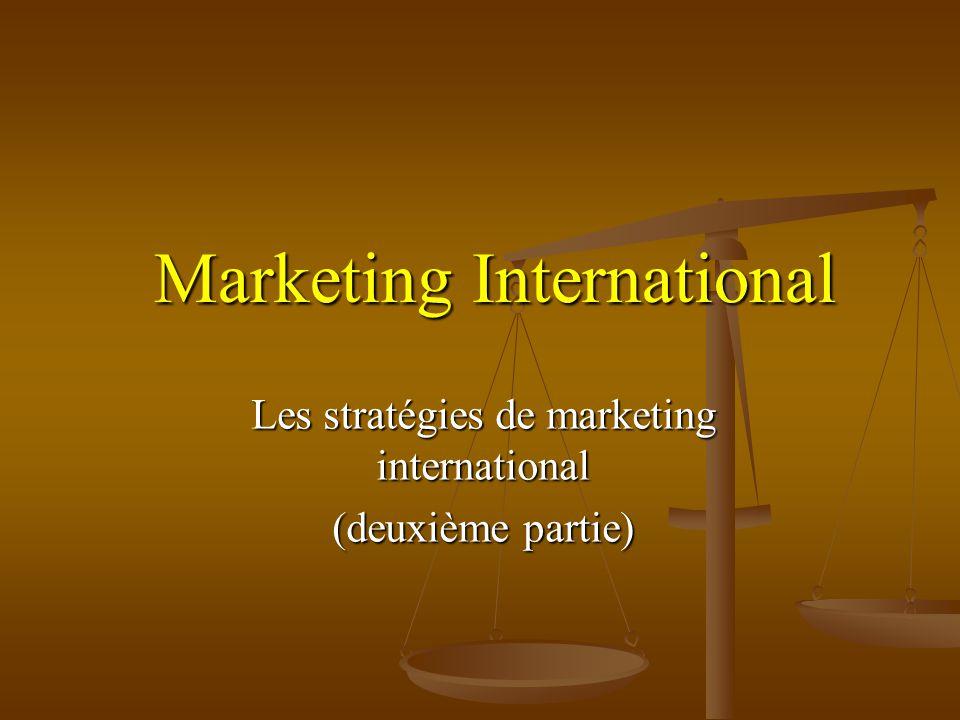 Marketing International Les stratégies de marketing international (deuxième partie)