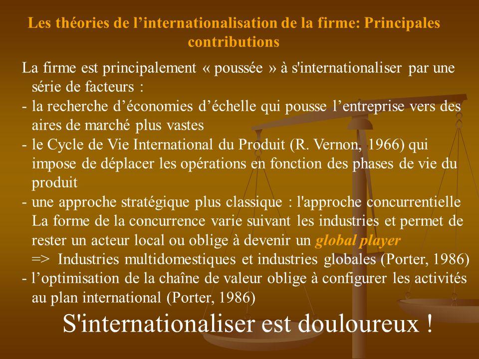 Les théories de l'internationalisation de la firme: Principales contributions La firme est principalement « poussée » à s internationaliser par une série de facteurs : -la recherche d'économies d'échelle qui pousse l'entreprise vers des aires de marché plus vastes -le Cycle de Vie International du Produit (R.