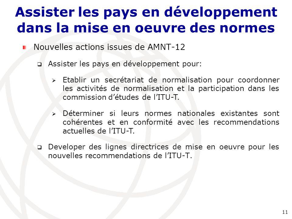 Nouvelles actions issues de AMNT-12  Assister les pays en développement pour:  Etablir un secrétariat de normalisation pour coordonner les activités