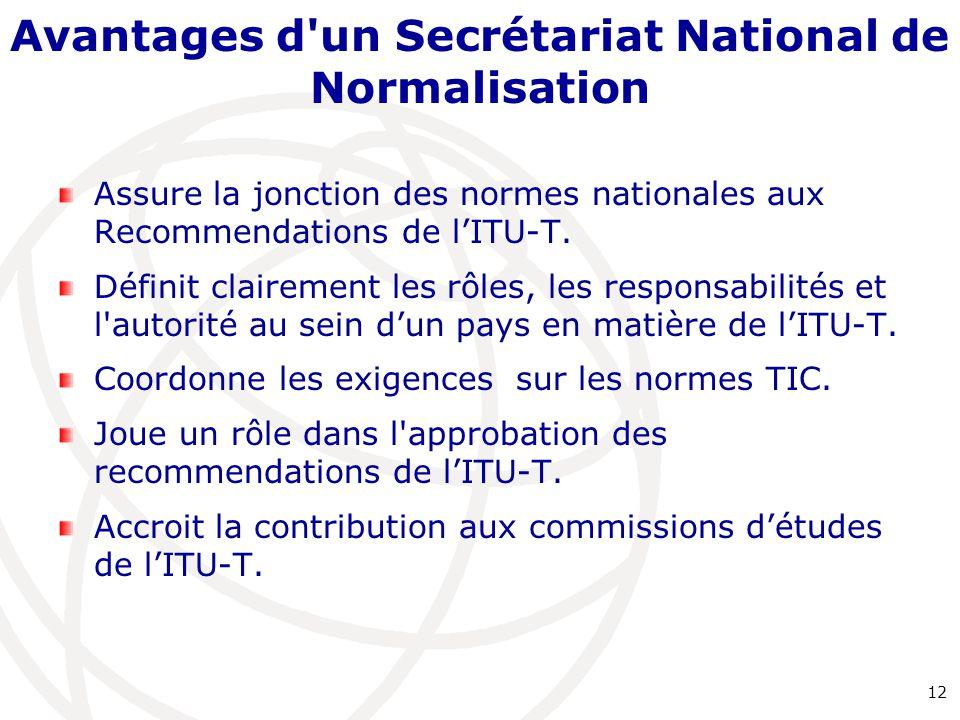 Avantages d'un Secrétariat National de Normalisation Assure la jonction des normes nationales aux Recommendations de l'ITU-T. Définit clairement les r