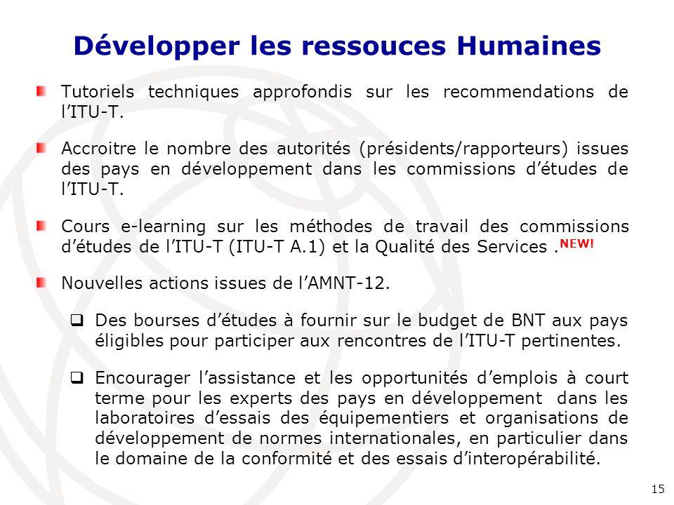 Développer les ressouces Humaines Tutoriels techniques approfondis sur les recommendations de l'ITU-T. Accroitre le nombre des autorités (présidents/r