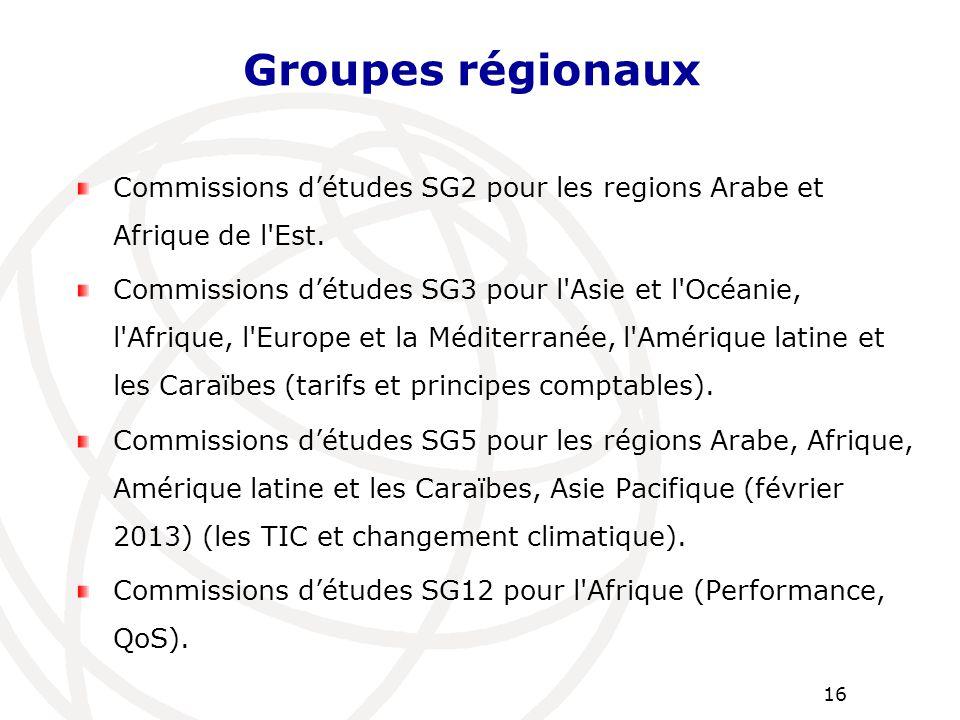 Commissions d'études SG2 pour les regions Arabe et Afrique de l'Est. Commissions d'études SG3 pour l'Asie et l'Océanie, l'Afrique, l'Europe et la Médi