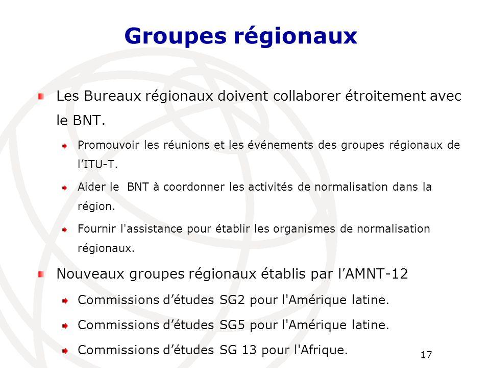 Les Bureaux régionaux doivent collaborer étroitement avec le BNT. Promouvoir les réunions et les événements des groupes régionaux de l'ITU-T. Aider le