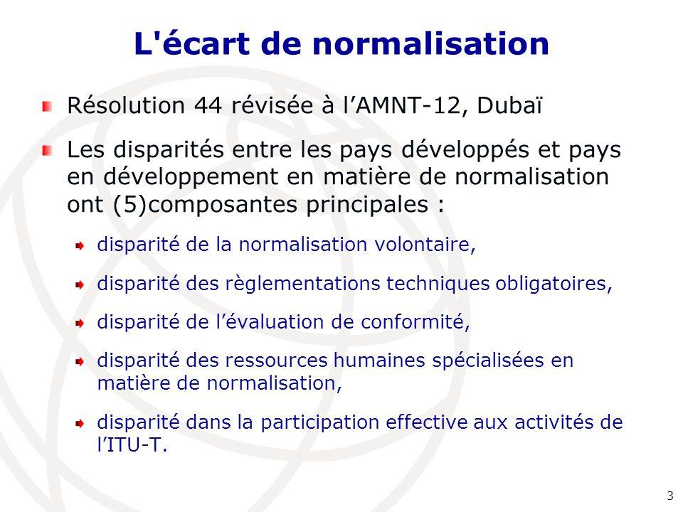 L'écart de normalisation Résolution 44 révisée à l'AMNT-12, Dubaï Les disparités entre les pays développés et pays en développement en matière de norm