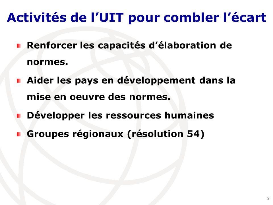 Activités de l'UIT pour combler l'écart Renforcer les capacités d'élaboration de normes. Aider les pays en développement dans la mise en oeuvre des no