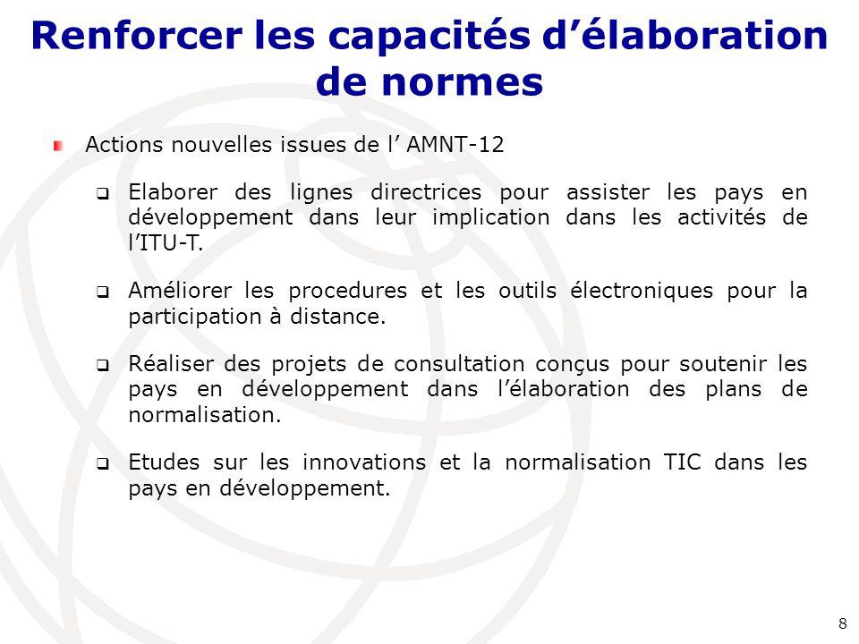 Actions nouvelles issues de l' AMNT-12  Elaborer des lignes directrices pour assister les pays en développement dans leur implication dans les activi