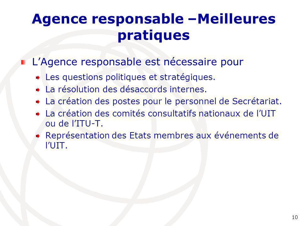 Agence responsable –Meilleures pratiques L'Agence responsable est nécessaire pour Les questions politiques et stratégiques. La résolution des désaccor