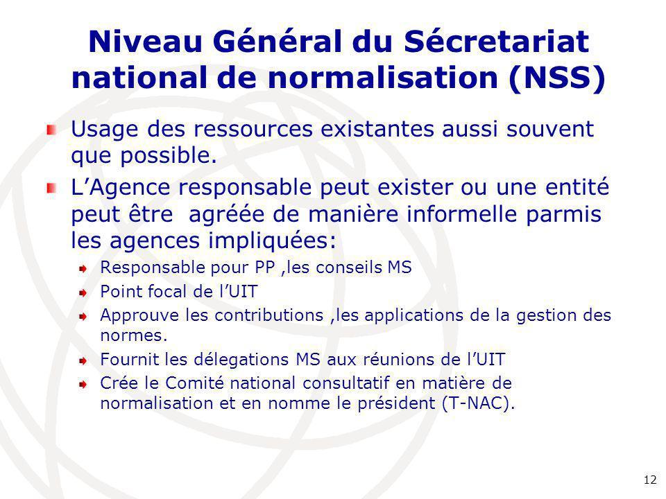 Niveau Général du Sécretariat national de normalisation (NSS) Usage des ressources existantes aussi souvent que possible. L'Agence responsable peut ex