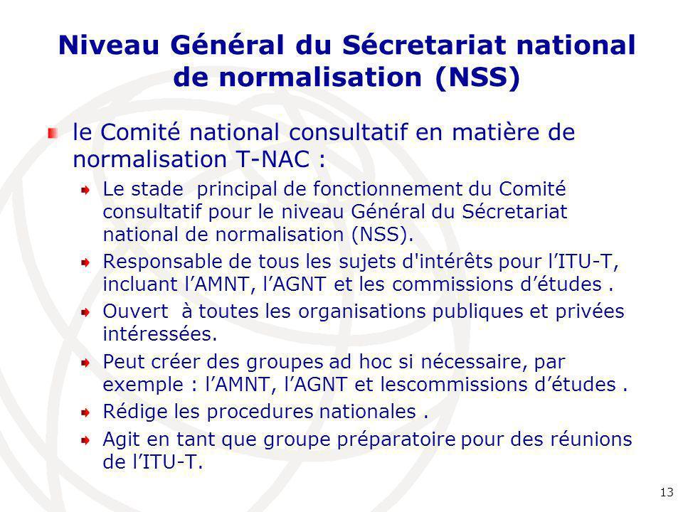 Niveau Général du Sécretariat national de normalisation (NSS) le Comité national consultatif en matière de normalisation T-NAC : Le stade principal de fonctionnement du Comité consultatif pour le niveau Général du Sécretariat national de normalisation (NSS).