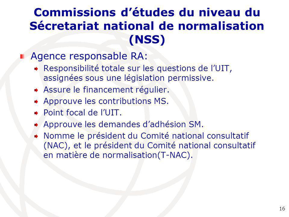 Commissions d'études du niveau du Sécretariat national de normalisation (NSS) Agence responsable RA: Responsibilité totale sur les questions de l'UIT, assignées sous une législation permissive.