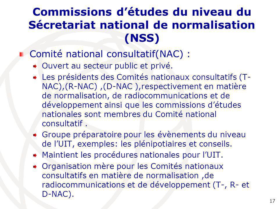 Commissions d'études du niveau du Sécretariat national de normalisation (NSS) Comité national consultatif(NAC) : Ouvert au secteur public et privé. Le
