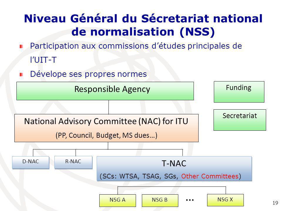 Niveau Général du Sécretariat national de normalisation (NSS) Participation aux commissions d'études principales de l'UIT-T Dévelope ses propres normes 19 NSG X      Responsible Agency Secretariat National Advisory Committee (NAC) for ITU (PP, Council, Budget, MS dues…) Funding D-NAC R-NAC T-NAC (SCs: WTSA, TSAG, SGs, Other Committees) T-NAC (SCs: WTSA, TSAG, SGs, Other Committees) NSG ANSG B
