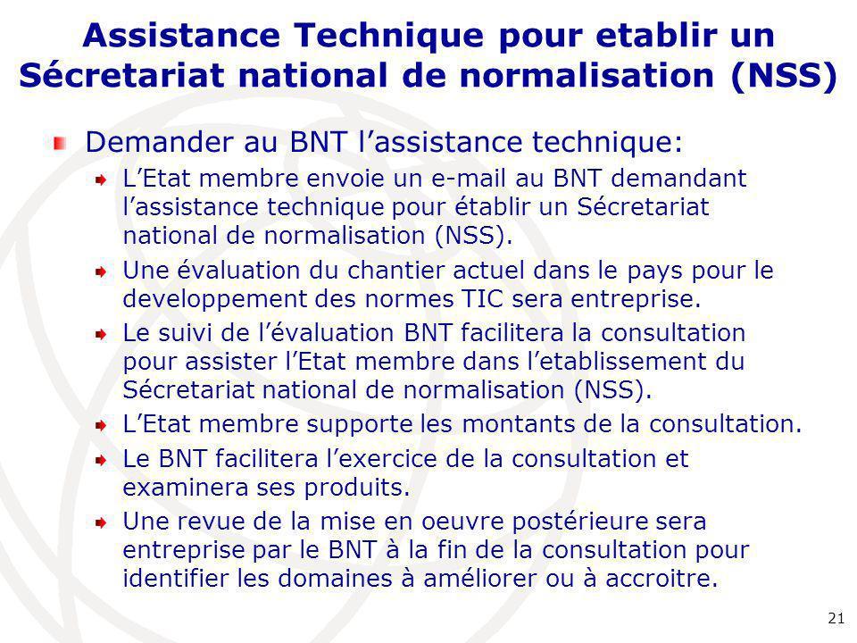 Assistance Technique pour etablir un Sécretariat national de normalisation (NSS) Demander au BNT l'assistance technique: L'Etat membre envoie un e-mail au BNT demandant l'assistance technique pour établir un Sécretariat national de normalisation (NSS).