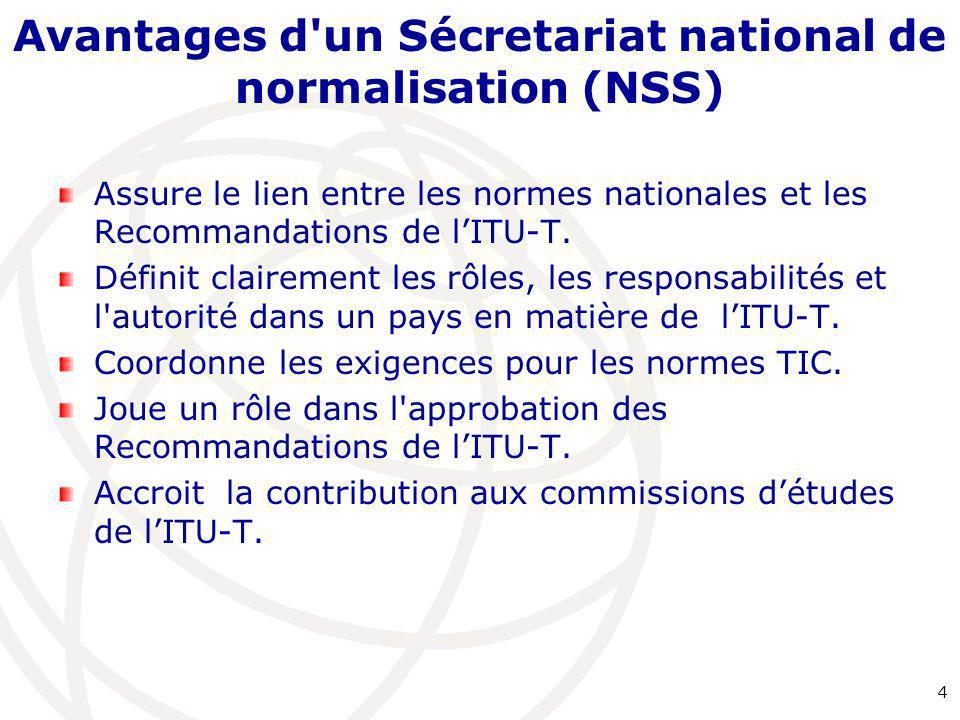 Avantages d'un Sécretariat national de normalisation (NSS) Assure le lien entre les normes nationales et les Recommandations de l'ITU-T. Définit clair