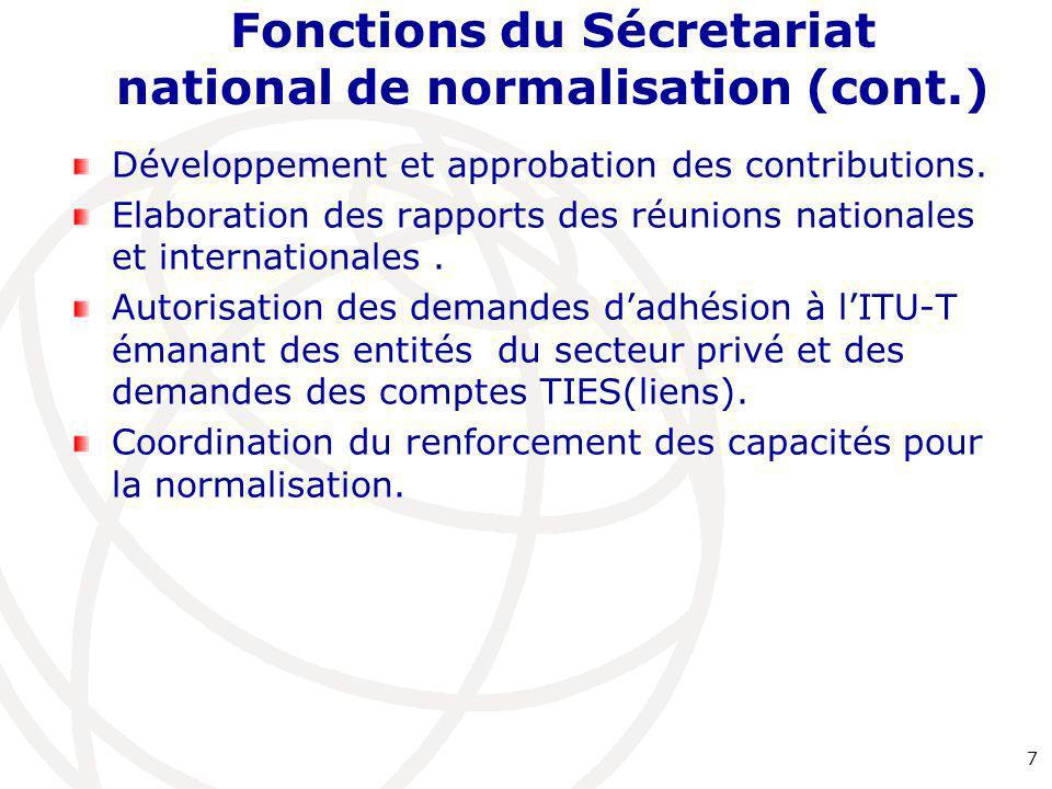 Fonctions du Sécretariat national de normalisation (cont.) Développement et approbation des contributions. Elaboration des rapports des réunions natio