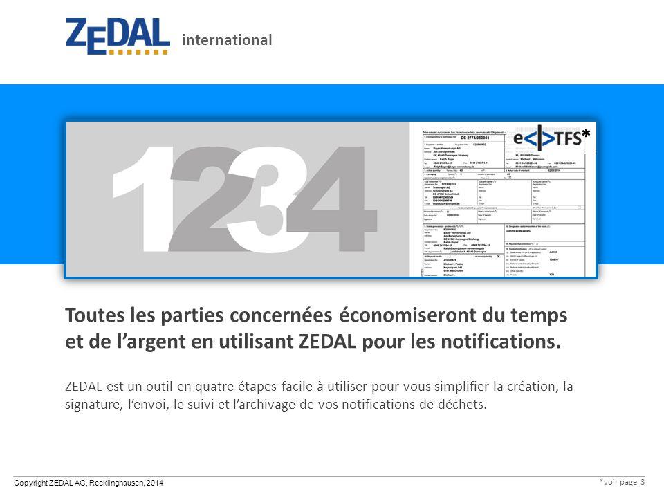Copyright ZEDAL AG, Recklinghausen, 2014 Toutes les parties concernées économiseront du temps et de l'argent en utilisant ZEDAL pour les notifications.