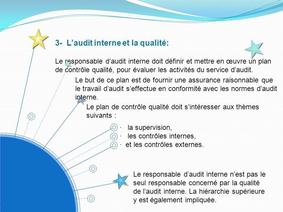 3- L'audit interne et la qualité: Le responsable d'audit interne doit définir et mettre en œuvre un plan de contrôle qualité, pour évaluer les activités du service d'audit.