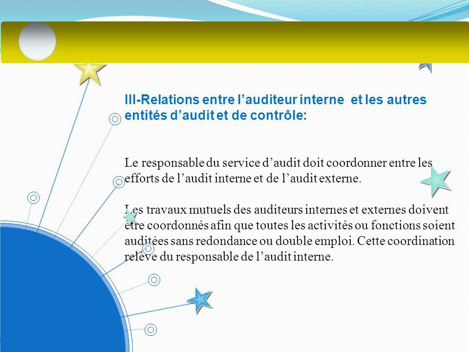 III-Relations entre l'auditeur interne et les autres entités d'audit et de contrôle: Le responsable du service d'audit doit coordonner entre les efforts de l'audit interne et de l'audit externe.