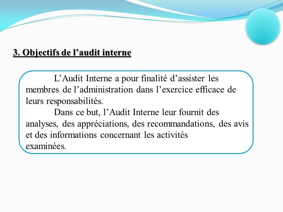 Concept Text II / Typologie des missions et caractéristiques de la fonction d'audit interne Les missions d'audit interne sont de typologie variée : régularité, efficacité ou de management et concernent soit des fonctions, soit des services, soit des procédures.