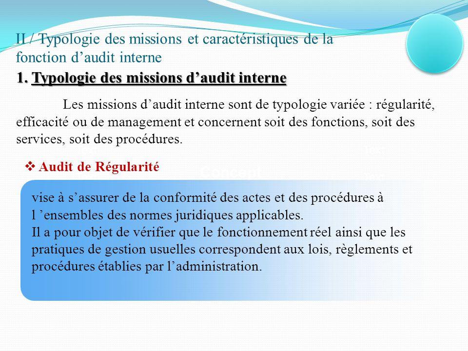  Audit d'efficacité Les audits d'efficacité couvrent toutes les fonctions de l'organisation : gestion des ressources humaines, gestion des dépenses, gestion des recettes, gestion budgétaire, gestion commerciale, gestion du patrimoine, …etc.