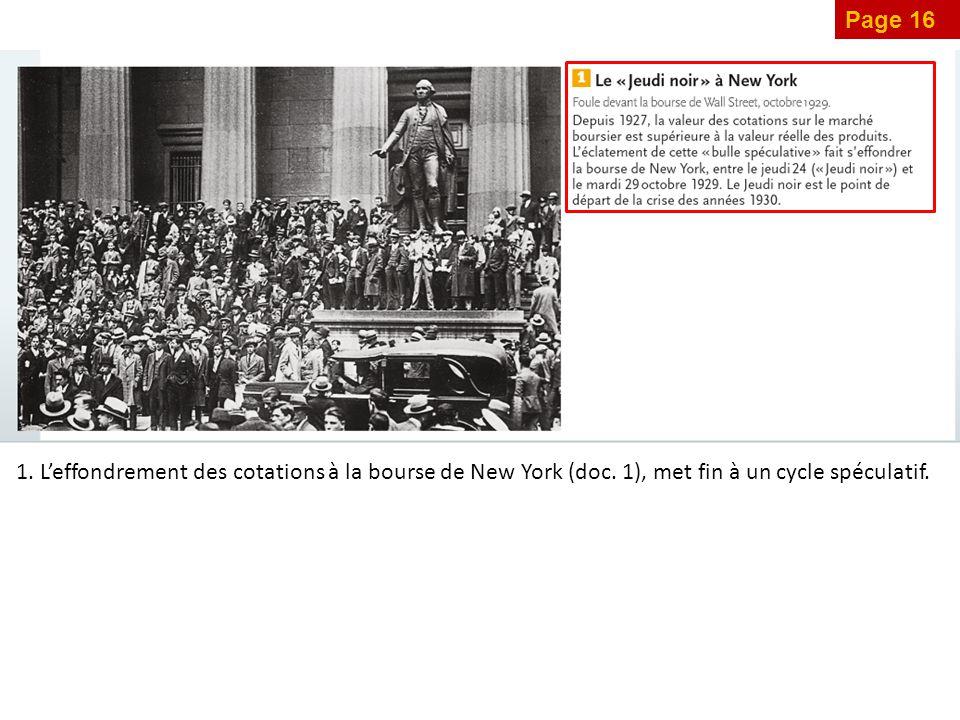 1. L'effondrement des cotations à la bourse de New York (doc. 1), met fin à un cycle spéculatif.