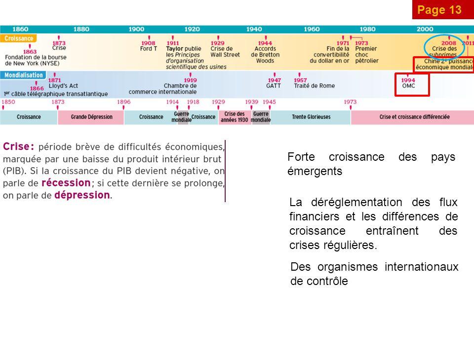 Page 13 Forte croissance des pays émergents La déréglementation des flux financiers et les différences de croissance entraînent des crises régulières.