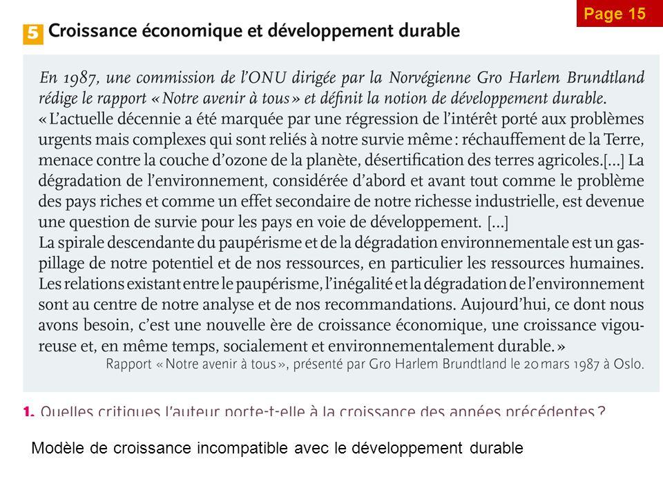 Page 15 Modèle de croissance incompatible avec le développement durable