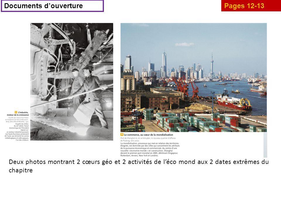 Pages 12-13 Documents d'ouverture Deux photos montrant 2 cœurs géo et 2 activités de l'éco mond aux 2 dates extrêmes du chapitre