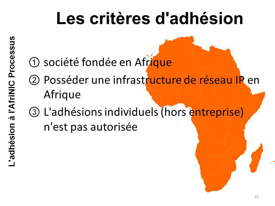 ①société fondée en Afrique ②Posséder une infrastructure de réseau IP en Afrique ③L adhésions individuels (hors entreprise) n est pas autorisée Les critères d adhésion 15