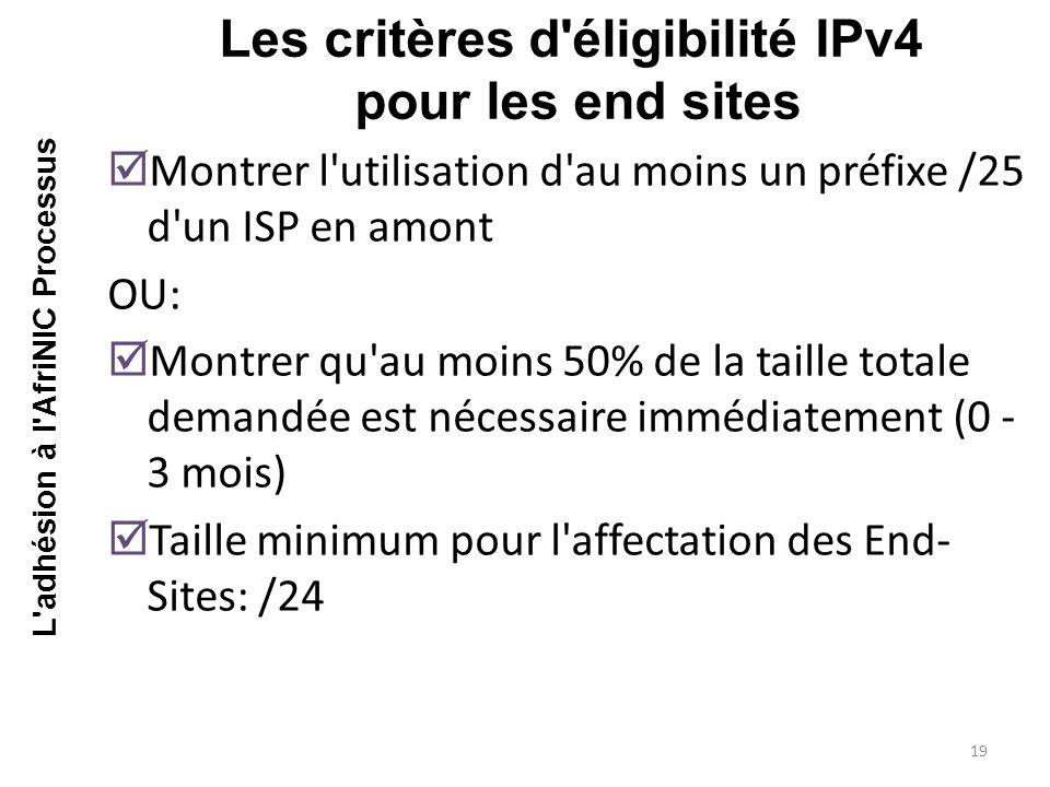  Montrer l utilisation d au moins un préfixe /25 d un ISP en amont OU:  Montrer qu au moins 50% de la taille totale demandée est nécessaire immédiatement (0 - 3 mois)  Taille minimum pour l affectation des End- Sites: /24 Les critères d éligibilité IPv4 pour les end sites 19