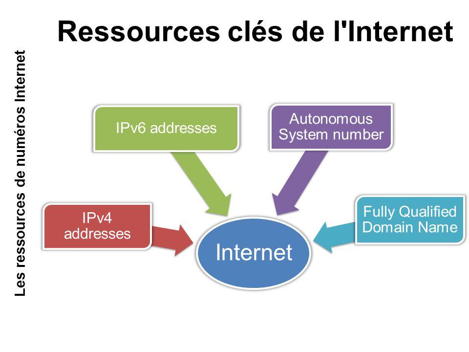 Internet IPv4 addresses IPv6 addresses Autonomous System number Fully Qualified Domain Name Ressources clés de l Internet