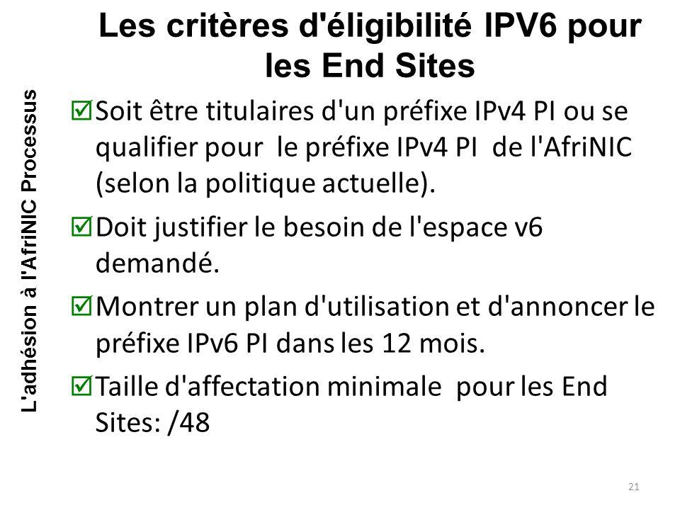  Soit être titulaires d un préfixe IPv4 PI ou se qualifier pour le préfixe IPv4 PI de l AfriNIC (selon la politique actuelle).