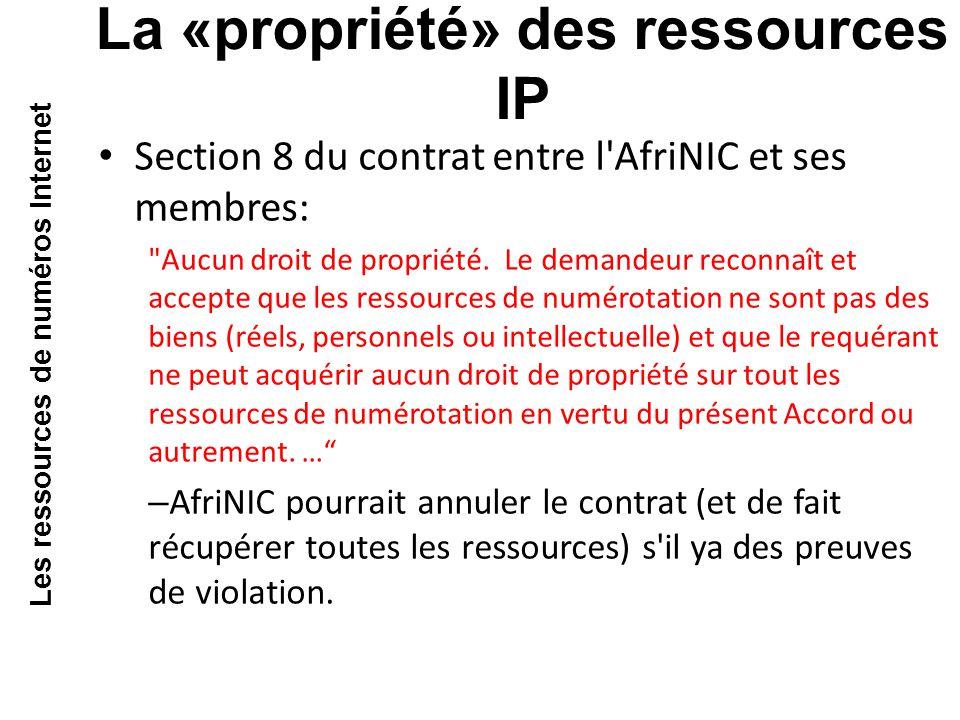 Section 8 du contrat entre l AfriNIC et ses membres: Aucun droit de propriété.