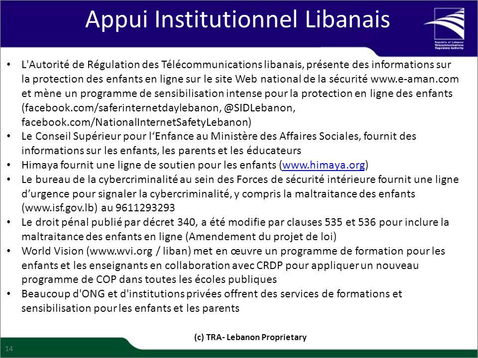 Appui Institutionnel Libanais (c) TRA- Lebanon Proprietary 14 L'Autorité de Régulation des Télécommunications libanais, présente des informations sur