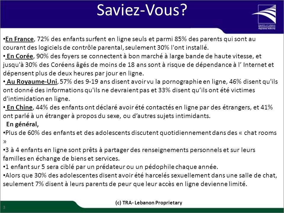 Saviez-Vous? En France, 72% des enfants surfent en ligne seuls et parmi 85% des parents qui sont au courant des logiciels de contrôle parental, seulem