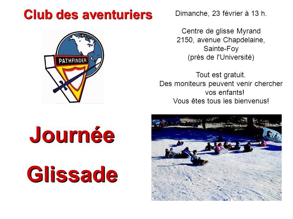 Dimanche, 23 février à 13 h. Centre de glisse Myrand 2150, avenue Chapdelaine, Sainte-Foy (près de l'Université) Tout est gratuit. Des moniteurs peuve