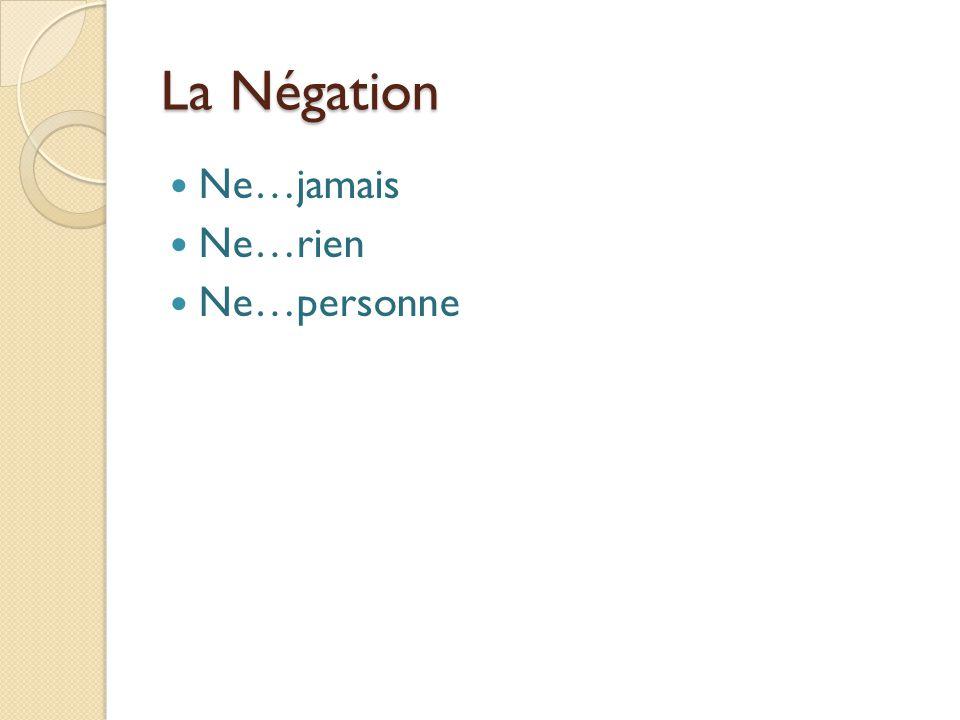 La Négation Ne…jamais Ne…rien Ne…personne