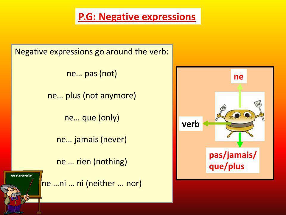 P.G: Negative expressions Negative expressions go around the verb: ne… pas (not) ne… plus (not anymore) ne… que (only) ne… jamais (never) ne … rien (n